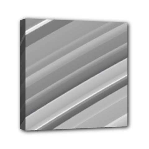 Elegant Silver Metallic Stripe Design Mini Canvas 6  X 6  by timelessartoncanvas