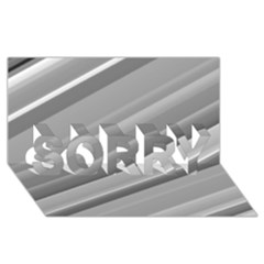 Elegant Silver Metallic Stripe Design Sorry 3d Greeting Card (8x4)  by timelessartoncanvas