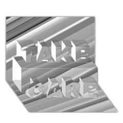 Elegant Silver Metallic Stripe Design Take Care 3d Greeting Card (7x5)  by timelessartoncanvas