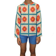 Shapes In Squares Pattern  Kid s Long Sleeve Swimwear by LalyLauraFLM
