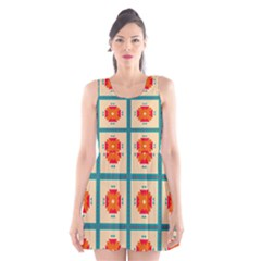 Shapes In Squares Pattern Scoop Neck Skater Dress by LalyLauraFLM