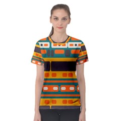 Rectangles In Retro Colors Texture Women s Sport Mesh Tee by LalyLauraFLM