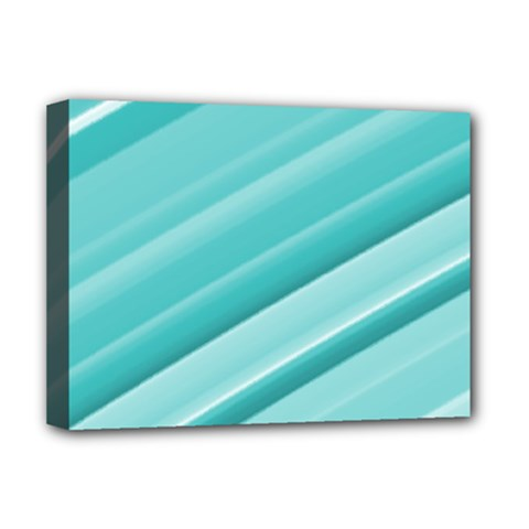 Teal And White Fun Deluxe Canvas 16  X 12   by timelessartoncanvas