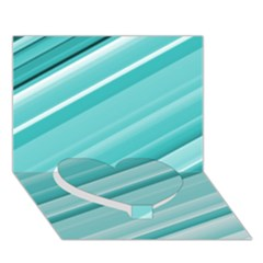 Teal And White Fun Heart Bottom 3d Greeting Card (7x5)