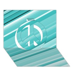 Teal And White Fun Peace Sign 3d Greeting Card (7x5)  by timelessartoncanvas