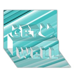 Teal And White Fun Get Well 3d Greeting Card (7x5)  by timelessartoncanvas