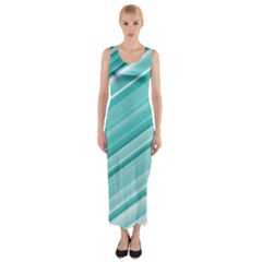 Teal And White Fun Fitted Maxi Dress by timelessartoncanvas
