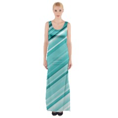 Teal And White Fun Maxi Thigh Split Dress by timelessartoncanvas
