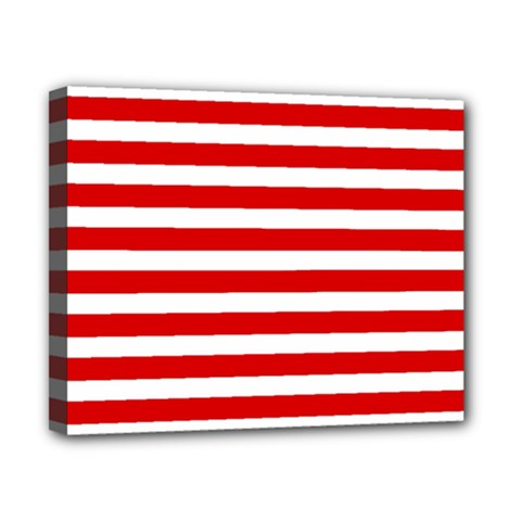 Red And White Stripes Canvas 10  X 8  by timelessartoncanvas