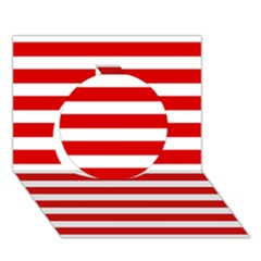 Red And White Stripes Circle 3d Greeting Card (7x5)  by timelessartoncanvas