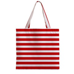 Red And White Stripes Zipper Grocery Tote Bag by timelessartoncanvas