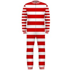 Red And White Stripes Onepiece Jumpsuit (men)  by timelessartoncanvas