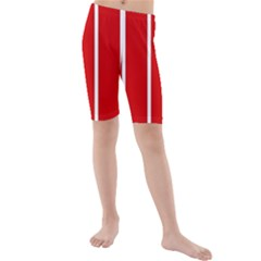 White And Red Stripes Kid s Mid Length Swim Shorts by timelessartoncanvas