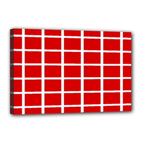 Red Cubes Stripes Canvas 18  X 12  by timelessartoncanvas