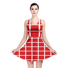 Red Cubes Stripes Reversible Skater Dress by timelessartoncanvas