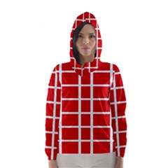 Red Cubes Stripes Hooded Wind Breaker (women) by timelessartoncanvas