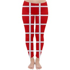Red Cubes Stripes Winter Leggings  by timelessartoncanvas