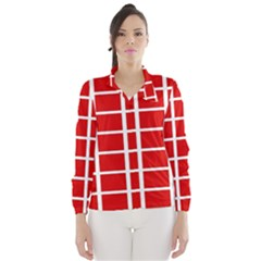 Red Cubes Stripes Wind Breaker (women) by timelessartoncanvas