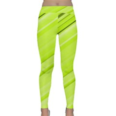Bright Green Stripes Yoga Leggings by timelessartoncanvas