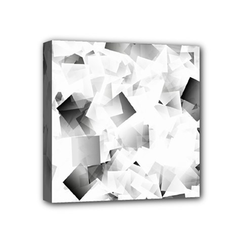 Gray And Silver Cubes Abstract Mini Canvas 4  X 4  by timelessartoncanvas