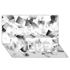 Gray And Silver Cubes Abstract Best Wish 3d Greeting Card (8x4)