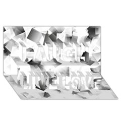 Gray And Silver Cubes Abstract Laugh Live Love 3d Greeting Card (8x4)  by timelessartoncanvas