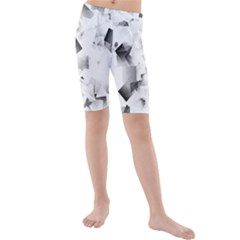 Gray And Silver Cubes Abstract Kid s Mid Length Swim Shorts by timelessartoncanvas