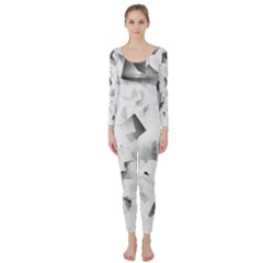 Gray And Silver Cubes Abstract Long Sleeve Catsuit by timelessartoncanvas