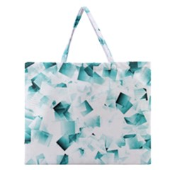 Modern Teal Cubes Zipper Large Tote Bag by timelessartoncanvas
