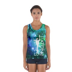 Baton Love In Blue & Green Galaxy  Sport Tank Top  by GalaxySpirit