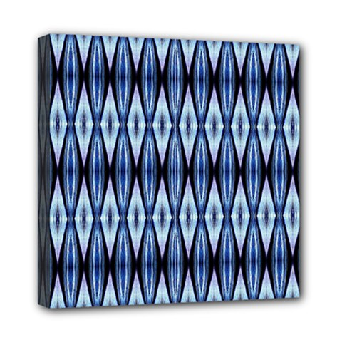 Blue White Diamond Pattern  Mini Canvas 8  X 8