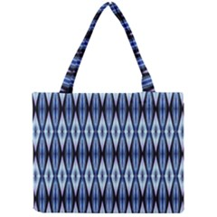 Blue White Diamond Pattern  Mini Tote Bag by Costasonlineshop