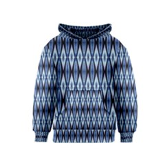 Blue White Diamond Pattern  Kids  Pullover Hoodie by Costasonlineshop