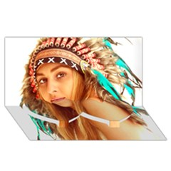 Indian 27 Twin Heart Bottom 3d Greeting Card (8x4)  by indianwarrior