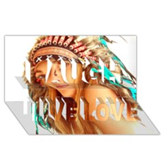 Indian 27 Laugh Live Love 3d Greeting Card (8x4)  by indianwarrior