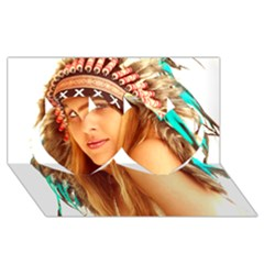 Indian 27 Twin Hearts 3d Greeting Card (8x4)  by indianwarrior