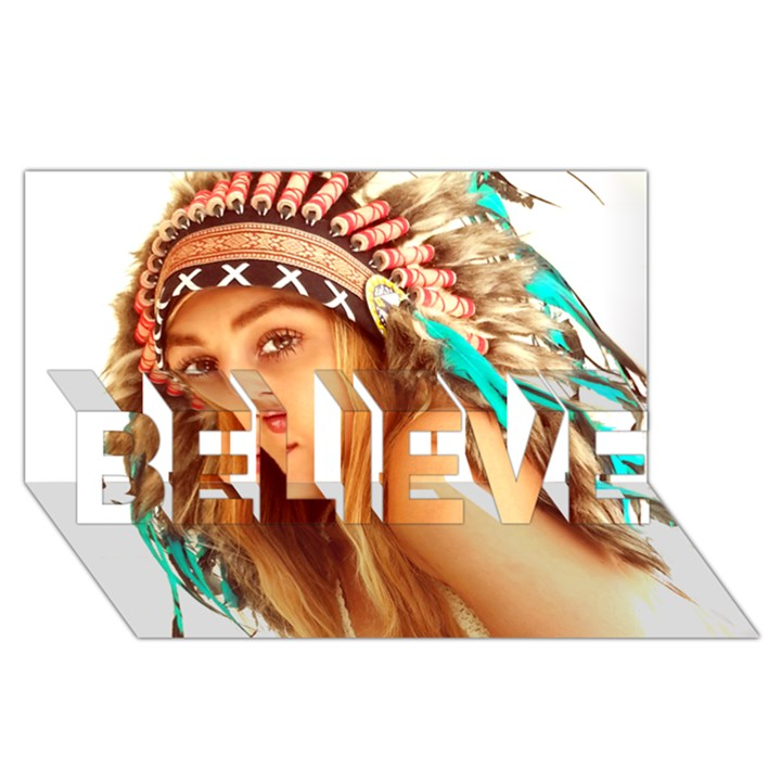 Indian 27 BELIEVE 3D Greeting Card (8x4)