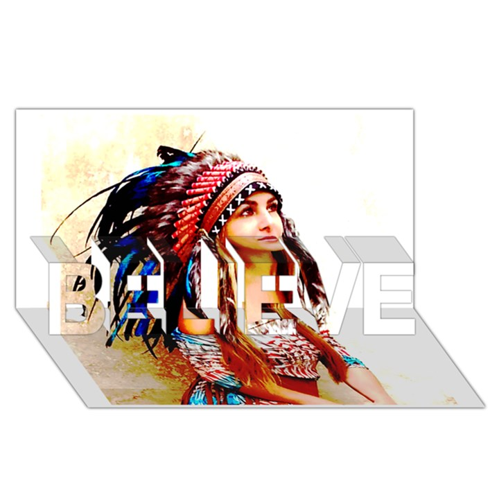 Indian 22 BELIEVE 3D Greeting Card (8x4)