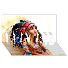 Indian 21 Best Sis 3d Greeting Card (8x4)