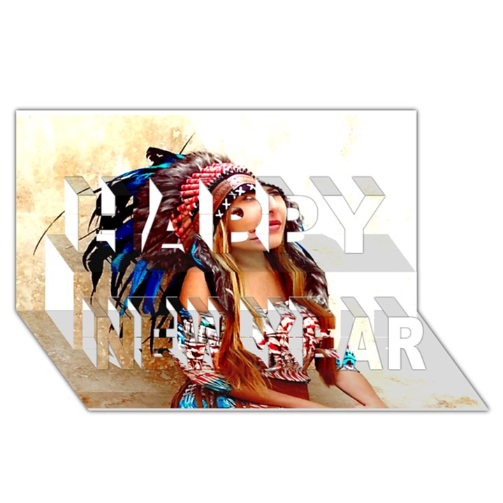 Indian 21 Happy New Year 3D Greeting Card (8x4)