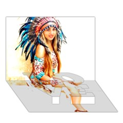 Indian 18 Love Bottom 3d Greeting Card (7x5)  by indianwarrior