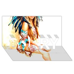 Indian 18 Sorry 3d Greeting Card (8x4)  by indianwarrior