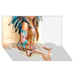 Indian 17 Twin Heart Bottom 3d Greeting Card (8x4)  by indianwarrior