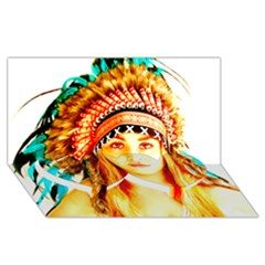 Indian 29 Twin Heart Bottom 3d Greeting Card (8x4)