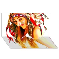 Indian 26 Twin Hearts 3d Greeting Card (8x4)