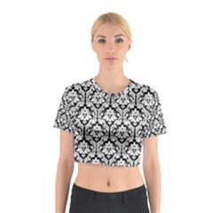 Black & White Damask Pattern Cotton Crop Top by Zandiepants