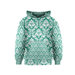 Emerald Green Damask Pattern Kids  Pullover Hoodie by Zandiepants
