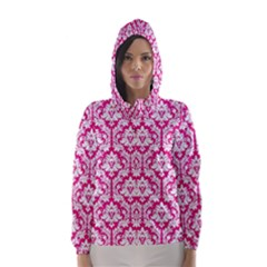 White On Hot Pink Damask Hooded Wind Breaker (women) by Zandiepants