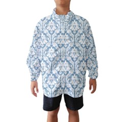 White On Light Blue Damask Wind Breaker (kids)