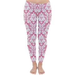 Soft Pink Damask Pattern Winter Leggings  by Zandiepants